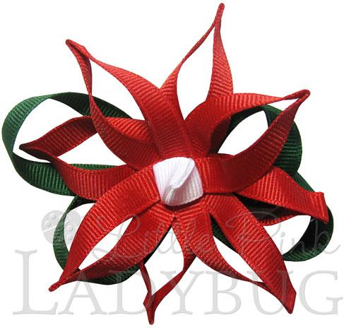 Pointsettia Bow-Christmas, flower, ribbon sculpture